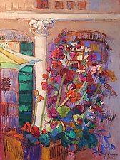 Hollyhock Dreams by Dorothy Fagan (Mixed-Media Painting)