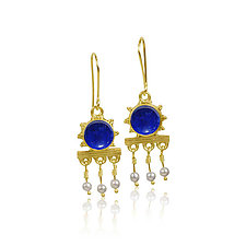 Etruscan Lapis Earrings by Nancy Troske (Gold & Stone Earrings)