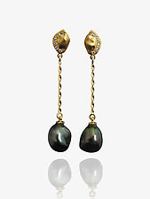 Keshi Nugget Earrings by Veronica Eckert (Gold, Stone & Pearl Earrings)