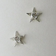 Silver & White Topaz Starlets by Julie Long Gallegos (Silver & Stone Earrings)