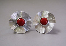 Red Coral Flower Earrings in Brushed Silver by Julie Long Gallegos (Silver & Stone Earrings)