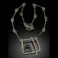 Framed Circle Necklace by Kim  Wilson (Gold & Silver Necklace)