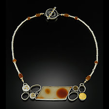 Horizontal Agate by Kim  Wilson (Gold, Silver & Stone Necklace)