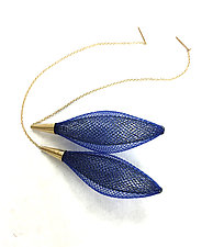 Gold Ovulo Earrings in Midnight Blue by Michal Lando (Nylon Earrings)