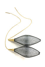 Gold Ovulo Earrings in Black & White by Michal Lando (Nylon Earrings)