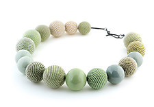 Celery Greens and Seafoam Necklace by Lauren Schlossberg (Beaded Necklace)