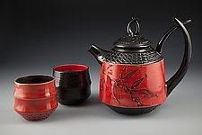 Tusk Teapot with Cups by Suzanne Crane (Ceramic Tea Set)