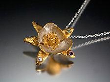 Magnolia Pendant by Carol Salisbury (Gold, Silver & Stone Necklace)