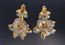 Magnolia Earrings by Carol Salisbury (Gold, Silver & Stone Earrings)