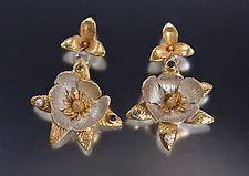 Magnolia Earrings by Carol Salisbury (Gold, Silver & Stone Earrings)