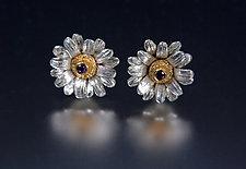 Gerber Daisy Earrings by Carol Salisbury (Gold, Silver & Stone Earrings)