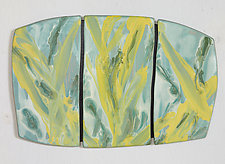 Green & Yellow Abstract by Kristi Sloniger (Ceramic Wall Sculpture)