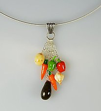 Vegetable Cluster Necklace by Carolyn Tillie (Silver & Polymer Clay Necklace)