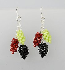 Grape Cluster Earrings by Carolyn Tillie (Silver & Polymer Clay Earrings)