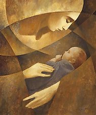 Mother & Child (yellow) by J. Kirk Richards (Giclee Print)