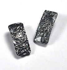 Rectangle Textured Earrings by Lori Gottlieb (Silver Earrings)
