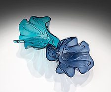 Emerald Ocean Fleur by April Wagner (Art Glass Wall Sculpture)
