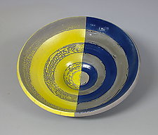 Yellow and Blue Concentric Circles Bowl by Paul  Schneider (Ceramic Bowl)