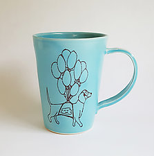 Dog with Balloons Mug Robin's Egg Blue by Heidi Fahrenbacher (Ceramic Mug)