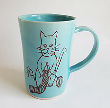 Knitting Cat Mug by Heidi Fahrenbacher (Ceramic Mug)