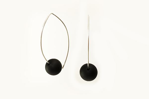 Onyx on Silver Wire Earrings