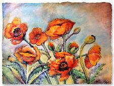 Poppy Garden by Anne Nye (Art Glass Wall Sculpture)