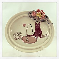 Gone Fishing Black Cat Wall Plaque by Chris Hudson and Shelly  Hail (Ceramic Wall Sculpture)