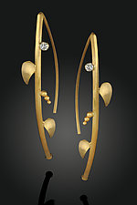 Vine Earrings with Diamond by Rosario Garcia (Gold & Stone Earrings)