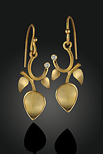 Gold Twig and Diamond Earrings by Rosario Garcia (Gold & Stone Earrings)