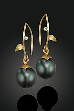 South Sea Pearl Earrings by Rosario Garcia (Gold, Pearl & Stone Earrings)