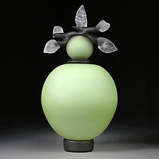Novi Zivot (New Life) Satin Sage Large Sphere by Eric Bladholm (Glass Sculpture)