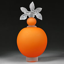Novi Zivot (New Life) Satin Tangerine Large Sphere by Eric Bladholm (Art Glass Vessel)