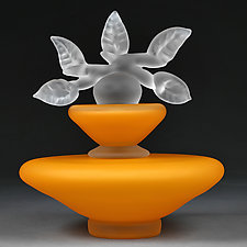 Novi Zivot (New Life) Satin Sunrise Large Trapezoid by Eric Bladholm (Art Glass Vessel)