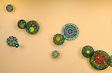 Rainforest Mandala by Janine Sopp and Barbara Galazzo (Art Glass & Ceramic Wall Sculpture)