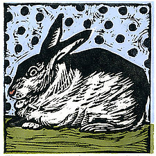 Vintage Rabbit by Lisa Kesler (Linocut Print)