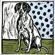 Vintage Dog by Lisa Kesler (Linocut Print)
