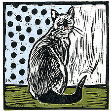 Vintage Cat by Lisa Kesler (Linocut Print)