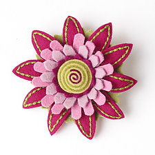 Aster Felt Flower Pin by Renee Roeder-Earley  (Felted Brooch)