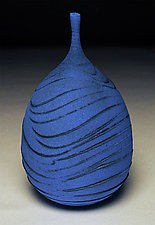 Blue Wave Bottle by Nicholas Bernard (Ceramic Vessel)