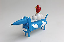 Blue Sky Doxie by Hilary Pfeifer (Wood Sculpture)