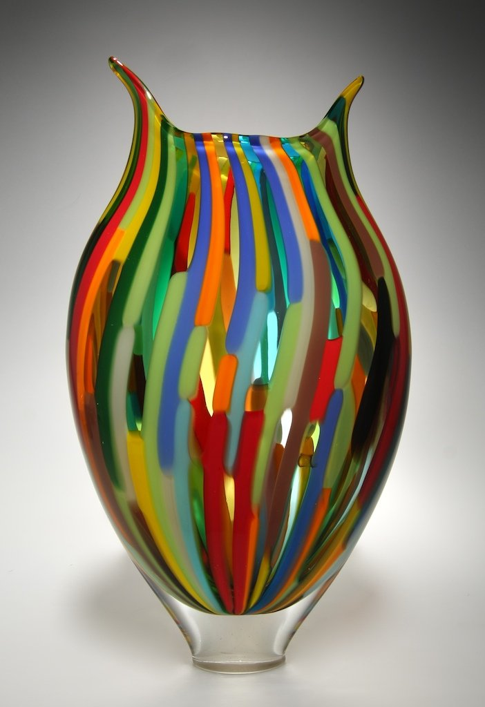 Mixed cane foglio by david patchen art glass vessel for How to learn glass painting at home