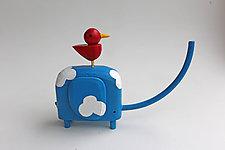Blue Sky Elephant by Hilary Pfeifer (Wood Sculpture)