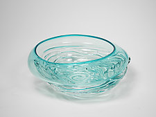 Ripple Wave Bowl in Turqouise by Mariel Waddell and Alexi Hunter (Art Glass Bowl)