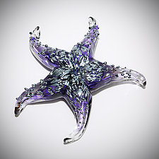 Amethyst Starfish Sculptural Paperweight by Gina Lunn (Art Glass Paperweight)
