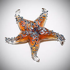 Amber Starfish Sculptural Paperweight by Gina Lunn (Art Glass Paperweight)