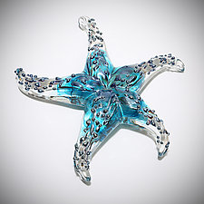 Turquoise Starfish Sculptural Paperweight by Michael  Hermann and Gina Lunn (Art Glass Paperweight)