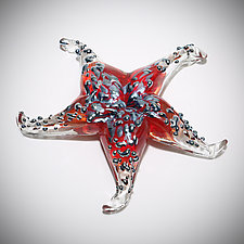 Crimson Starfish Sculptural Paperweight by Gina Lunn (Art Glass Paperweight)