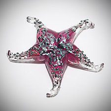 Ruby Starfish Sculptural Paperweight by Gina Lunn (Art Glass Paperweight)