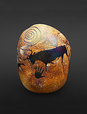 Petroglyph Rock - Bull by Richard Satava (Art Glass Paperweight)