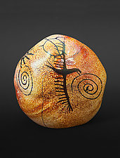 Petroglyph Rock - Eagle by Richard Satava (Art Glass Paperweight)